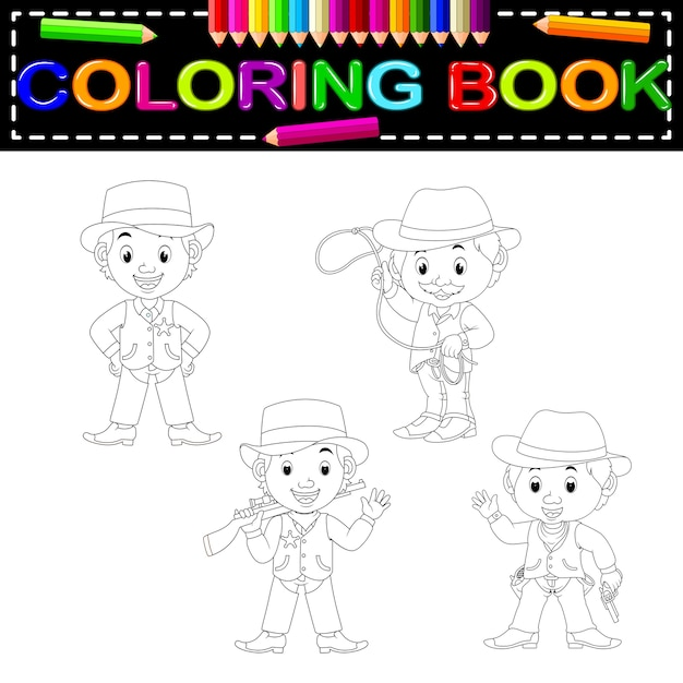 Vaqueros Para Colorear Libro Descargar Vectores Premium