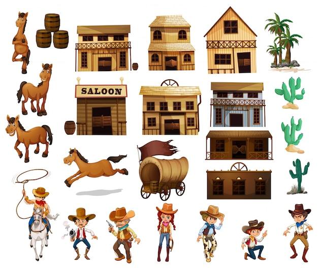 Vaqueros occidentales vector gratuito