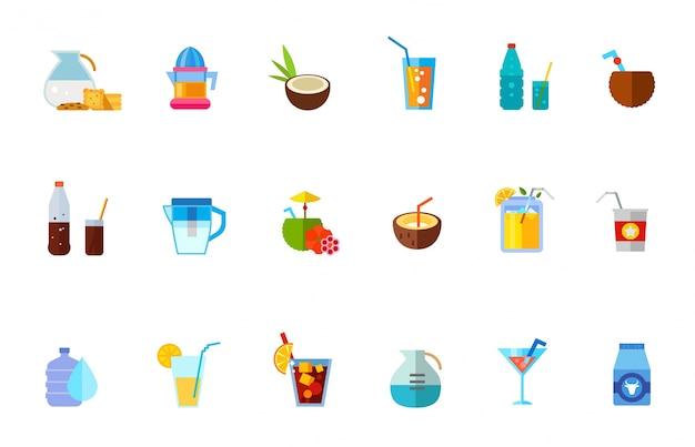 Varias bebidas refrescantes conjunto de iconos vector gratuito