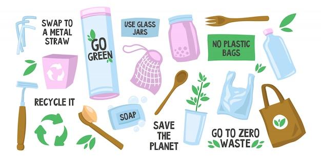 Varias bolsas y botellas ecológicas reutilizables. vector gratuito