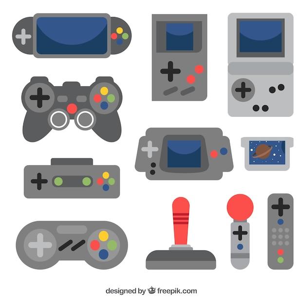 Varias consolas y mandos de control en diseño plano vector gratuito