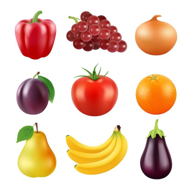 Varias frutas realistas Vector Premium