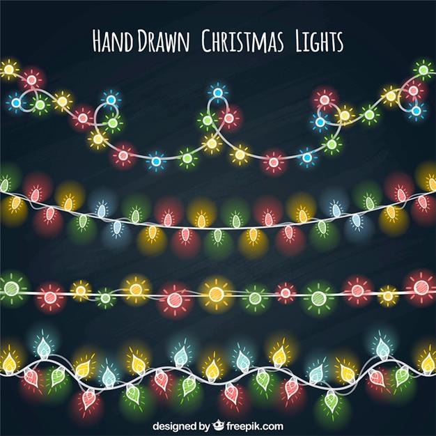Varias guirnaldas de luces de colores dibujadas a mano - Guirnaldas de luces ...