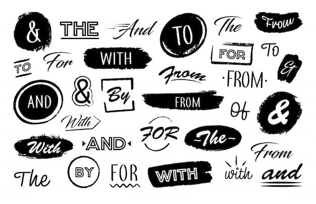 Varias letras y palabras. vector gratuito