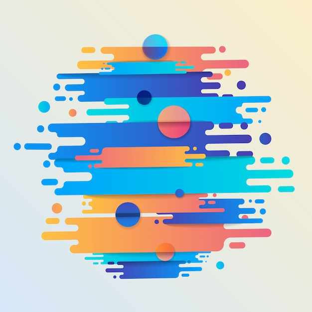 Varias líneas de formas redondeadas de colores en ritmo diagonal. ilustración de composición dinámica. elemento geométrico gráfico de movimiento. Vector Premium