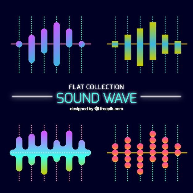 Varias ondas sonoras en diseño plano vector gratuito