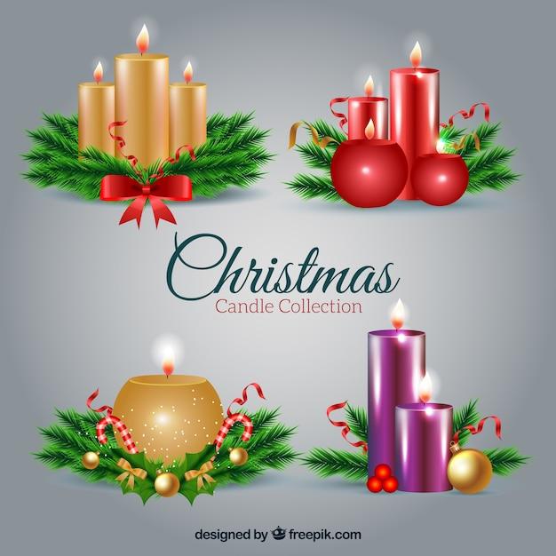 Varias velas bonitas navideñas en estilo realista   Descargar ...