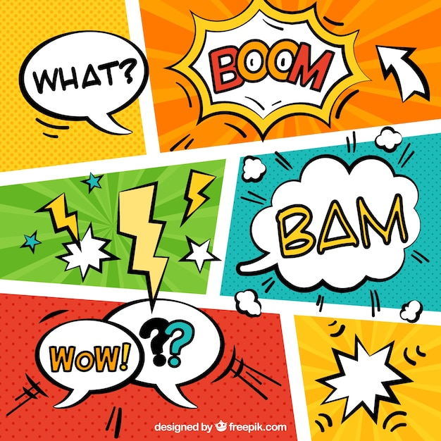 Comic Aun Book Cover Illustration Ver : Varias viñetas de comic con onomatopeyas descargar