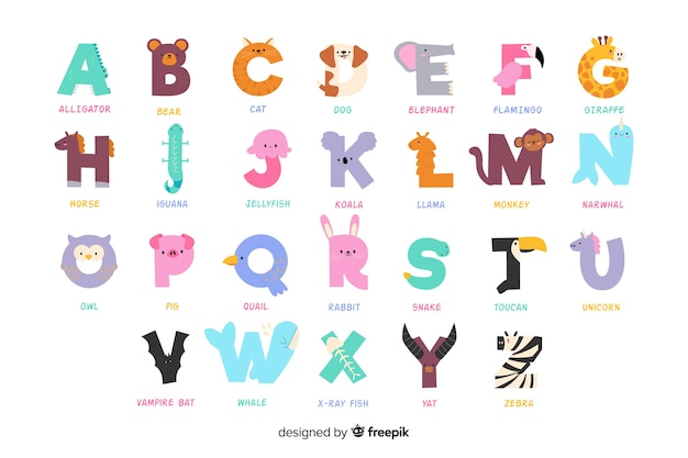 Variedad de animales lindos que forman el alfabeto. vector gratuito