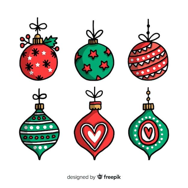Variedad de bolas de navidad sobre fondo blanco. vector gratuito