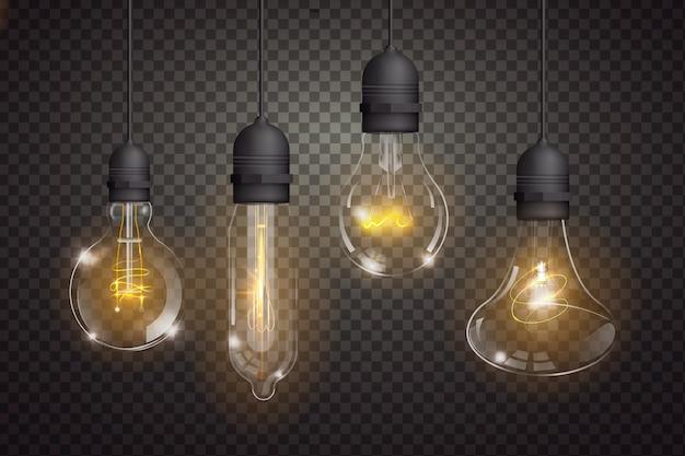Variedad de bombillas realistas. vector gratuito