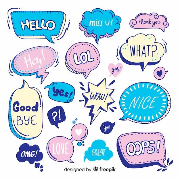 Variedad de burbujas de discurso con mensajes. vector gratuito