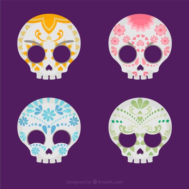 Variedad De Calaveras De Azúcar De Colores Descargar Vectores Premium