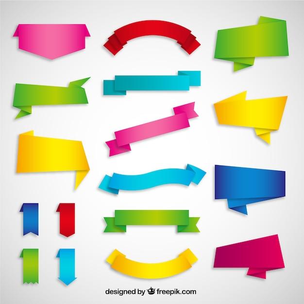 Variedad de cintas de origami vector gratuito