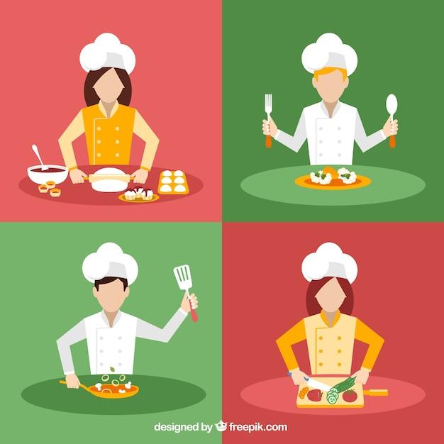 Variedad de cocineros vector gratuito