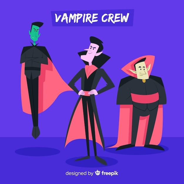 Variedad de colección de personajes vampiros vector gratuito