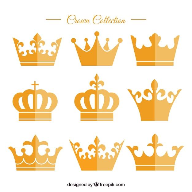 Variedad de coronas de oro en diseño plano vector gratuito