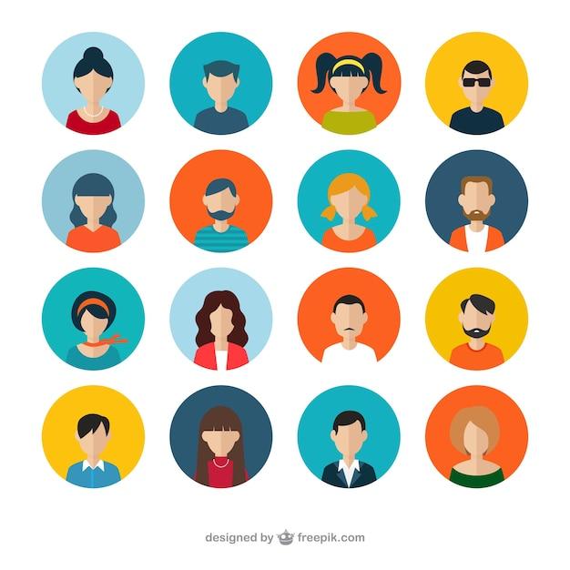 Variedad de avatares humanos Vector Gratis