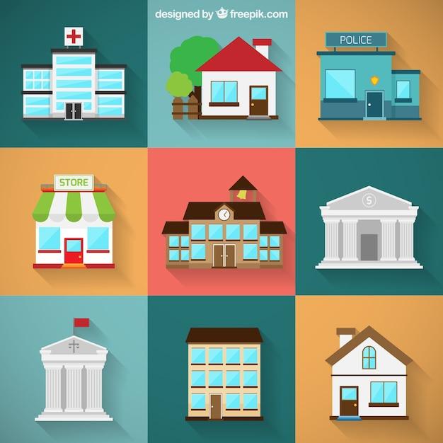 Variedad de edificios de la ciudad Vector Gratis