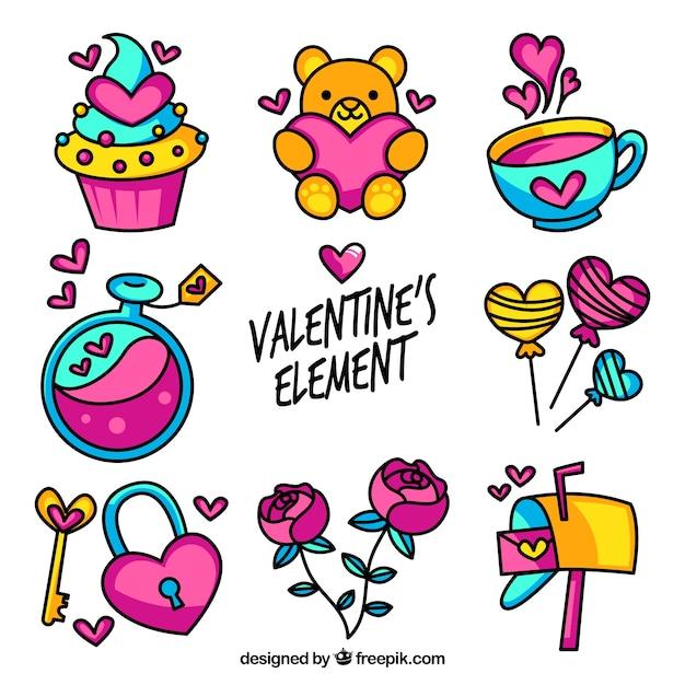 Variedad de elementos de san valentín coloridos Vector Gratis