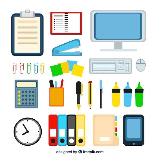 Variedad de equipos de oficina descargar vectores premium for Equipamiento para oficinas