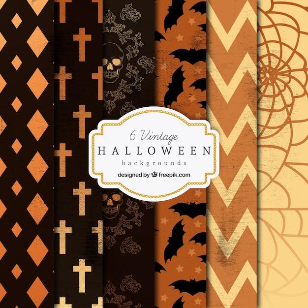 Variedad de fondos vintage de halloween Vector Premium