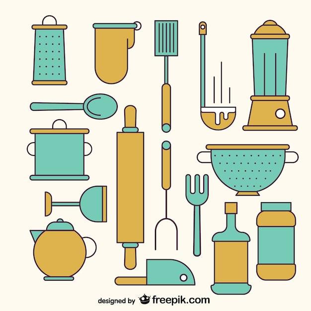 Variedad de herramientas de cocina descargar vectores gratis for Herramientas de cocina