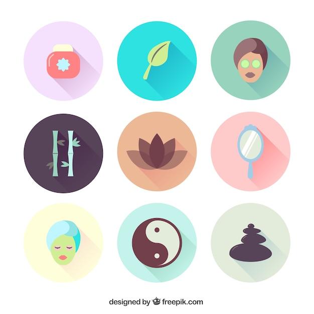Variedad de iconos de spa Vector Gratis