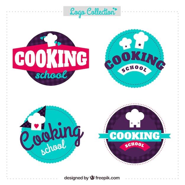 Variedad de logos de cocina en diseño plano | Descargar Vectores gratis