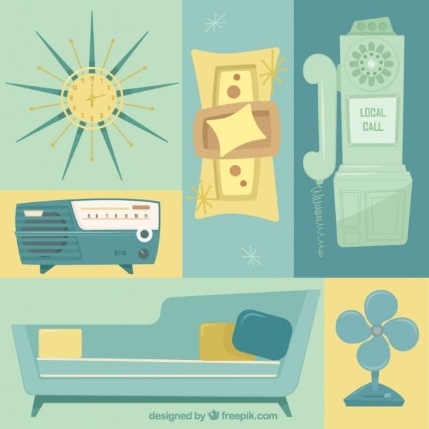 Variedad de muebles y objetos vintage descargar vectores for Vintage muebles y objetos