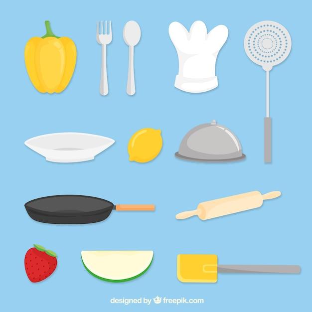 Variedad de objetos de cocina planos descargar vectores for Objetos de cocina