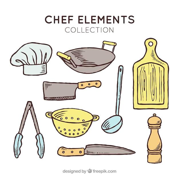 Variedad de objetos de cocinero dibujados a mano for Utensilios del chef