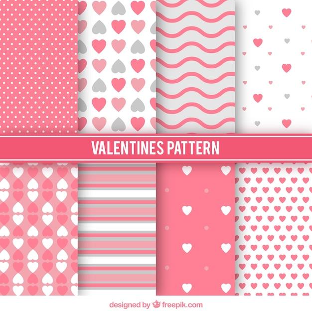 Variedad de patrones de san valentín  Vector Gratis