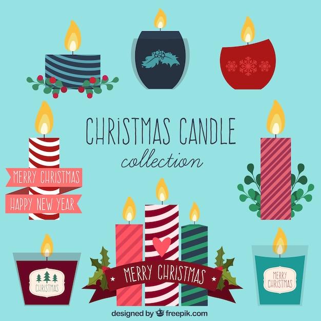 Variedad de velas de navidad en dise o plano descargar - Velas de diseno ...
