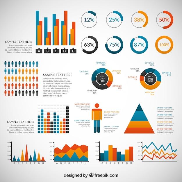 Variedad de elementos de infografía de color vector gratuito
