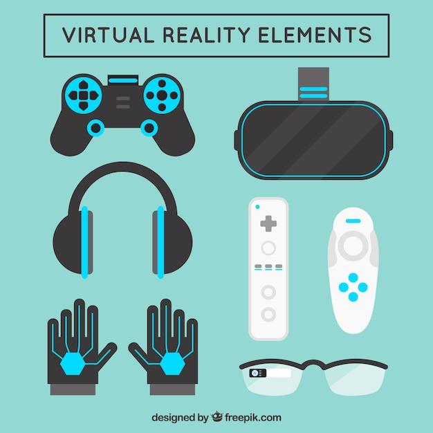 Variedad de elementos de realidad virtual en diseño plano | Vector Gratis