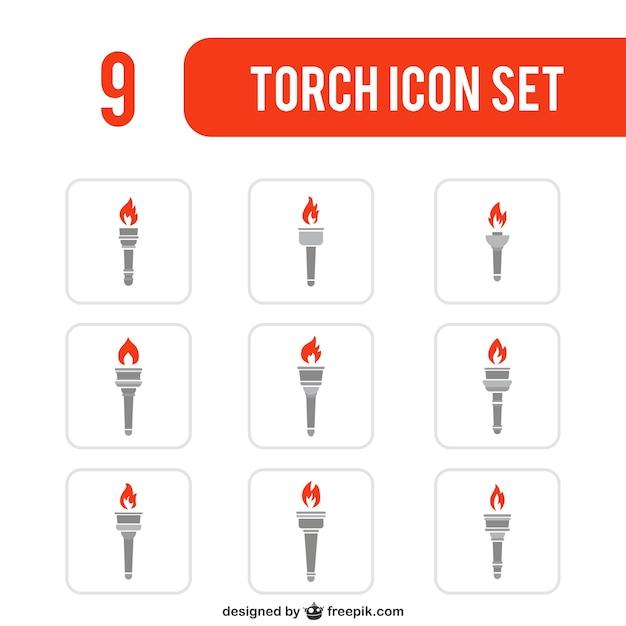 Variedad de iconos de antorchas Vector Premium