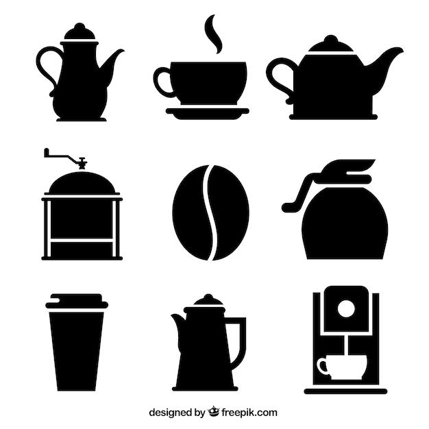 Variedad de iconos de café vector gratuito