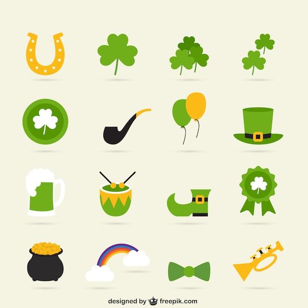 Variedad de iconos del día de san patricio vector gratuito