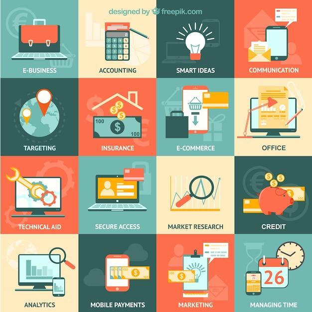 Variedad de iconos de negocios vector gratuito