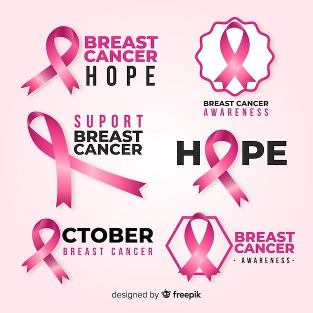 Variedad de insignias para el mes de concientización sobre el cáncer de mama vector gratuito