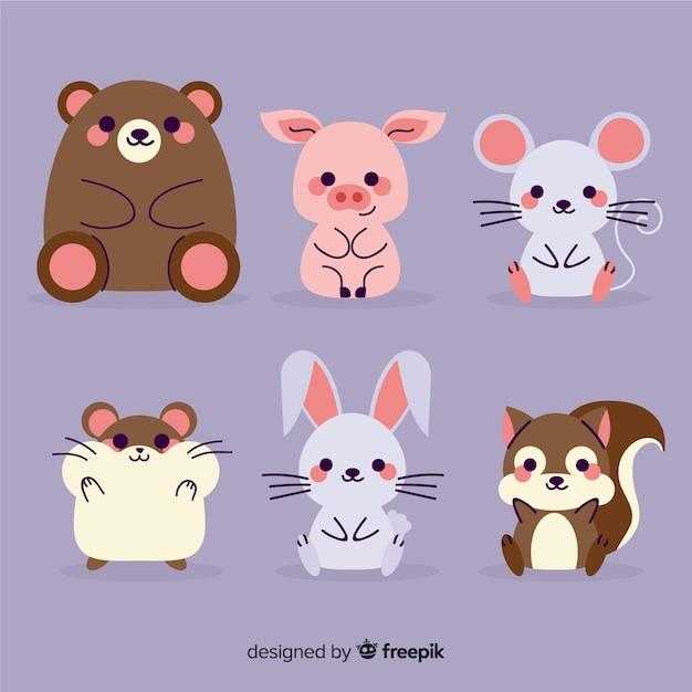 Variedad de lindos animales sentados colección vector gratuito