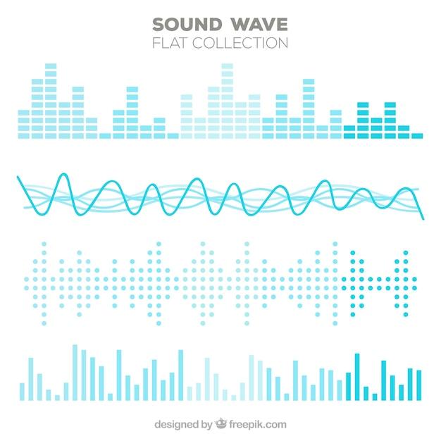 Variedad de ondas sonoras planas en tonos azules vector gratuito