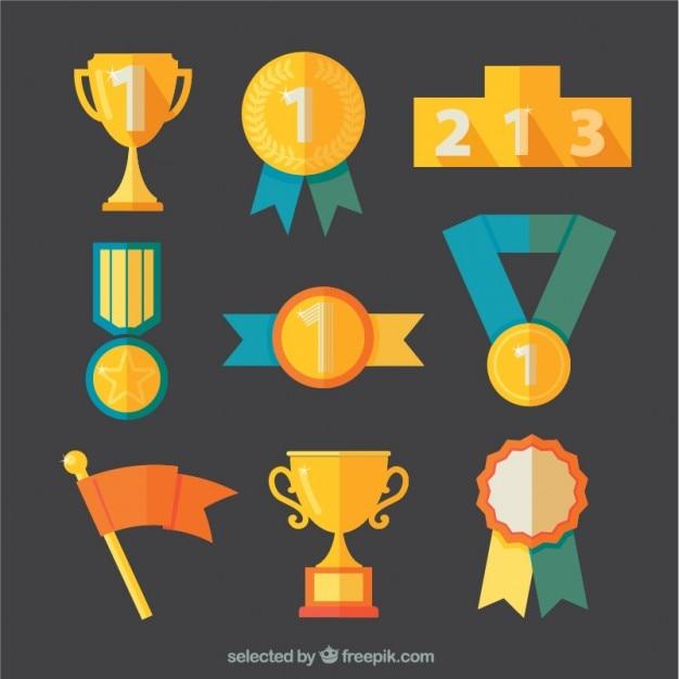 Variedad de premios de oro vector gratuito