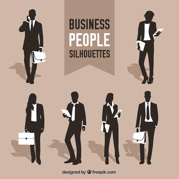 Variedad de siluetas de personas de negocios vector gratuito