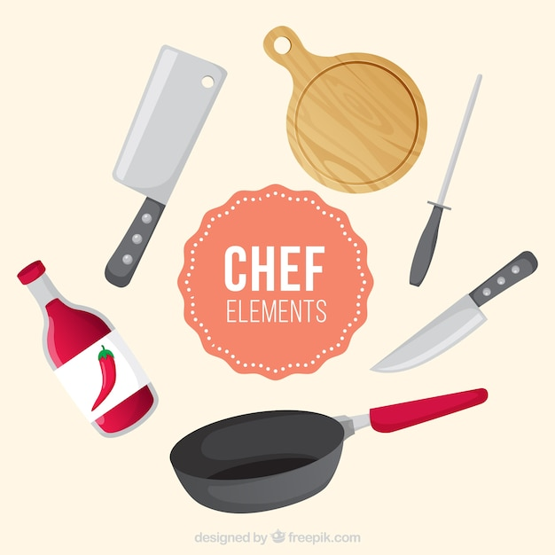 Varios art culos de chef planos descargar vectores gratis for Articulos de chef