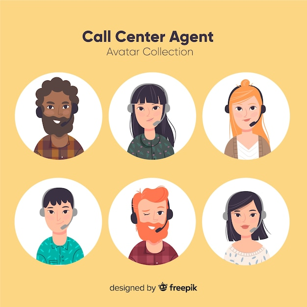 Varios avatares de call center en estilo flat vector gratuito