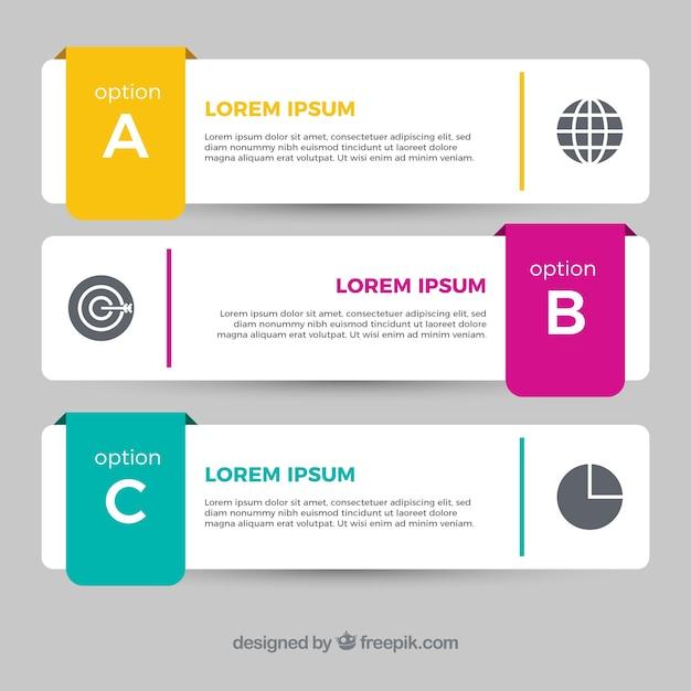 Varios banners infográficos con detalles de color en diseño plano Vector Gratis