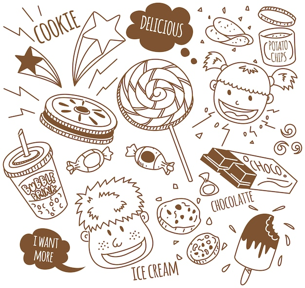 Varios bocadillos con niños felices en estilo doodle | Descargar ...