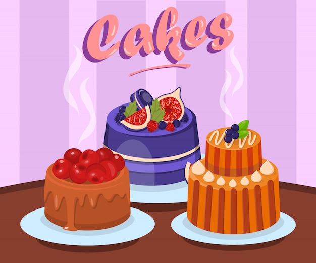 Varios deliciosos pasteles ilustración vectorial plana Vector Premium